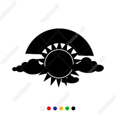 Güneş Bulut ve Gök Kuşağı Motifi Sticker