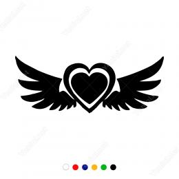 İç İçe İki Kalp ve Kanat Sticker Yapıştırma
