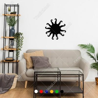 İçe Doğru Kıvrımlı Olan Çok Kollu Güneş Sticker