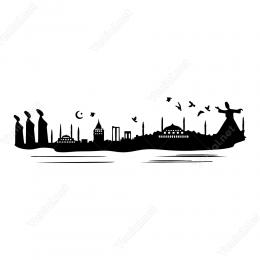 İstanbul Silüeti Mevlana Sticker Etiket