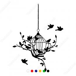 Kafes ve Kafesin Yanında Kuşlar Sticker Yapıştırma