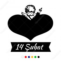 Kalp İçinde Sevgililer Günü Eros Sticker Yapıştırma