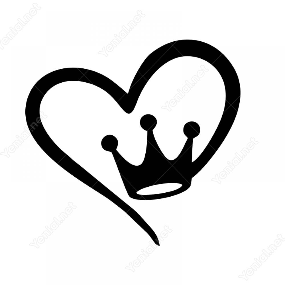 Kalp Ve Kral Taci Sticker Yapistirma