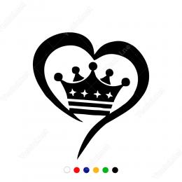 Kalp Ve Yıldızlı Kral Tacı Sticker Yapıştırma