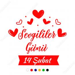 Kalpler Sevgililer Günü Yazısı Sticker Yapıştırma