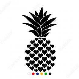 Kalplerle Oluşturulmuş Ananas Stickerı