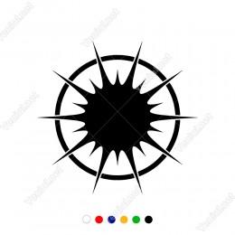 Kenarlarında Çember Silindir Olan Güneş Sticker