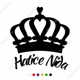 Kişiye Özel Seçenekli Prenses Tacı Sticker Yapıştırma