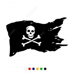 Korsan Bayrağı Kuru Kafa Ve Kemik Stickeri Çıkartması