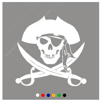 Korsan Kuru Kafa ve Kılıç  Sticker Yapıştırma