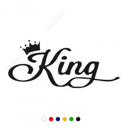 Kral Tacı King Yazısı Sticker Çıkartma
