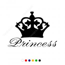 Kral Tacı Prensess Yazısı Sticker Çıkartma