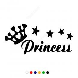 Kral Tacı Yıldız Ve Prencess Yazısı Stickeri Çıkartma