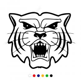 Kükreyen Dişlerini Gösteren Aslan Sticker Yapıştırma