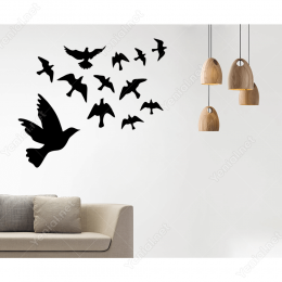 Kuş Sürüsü Uçuşan Kuşlar Serisi Duvar Sticker Yapıştırma
