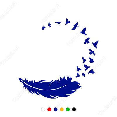 Kuş Tüyü ve Kuşlar Sticker Yapıştırma