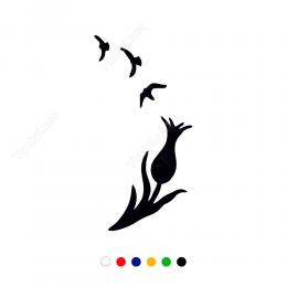 Lale Ve Uçuşan Kuşlar Sticker Çıkartma