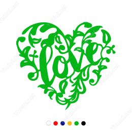 Love Yazılı Kuş ve Çiçekli Kalp Sticker