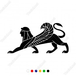 Mısır Hiyerogliflerinde İnsan Başlı Kanatlı Aslan Sticker