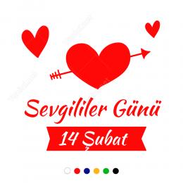 Ok Atılmış Kalp İçinde Sevgililer Günü Sticker Yapıştırma