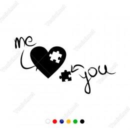 Ok İşaretli Kalp ve Sen Ve Ben Yazısı Sticker
