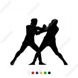 Ringte Dövüşen Yumruklayan İki Boksörcü Sticker