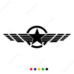 Sağa ve Sola Açılmış Kanat ve Army Yıldız Sticker