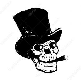 Şapkalı Pro İçen Kuru Kafa Sticker Yapıştırma