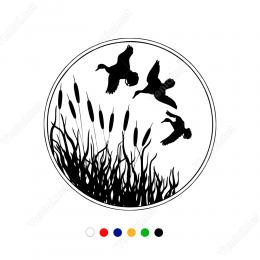 Sazlıkların Arasından Uçuşan Ördekler Stickeri