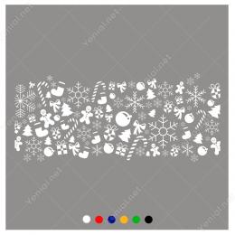Şerit Halinde Yılbaşı Süslemeleri Sticker Yapıştırma 140x100cm