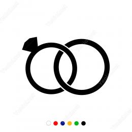 Sevgililer Günü Birbirine Geçmiş Alyans Sticker