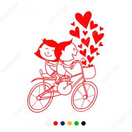 Sevgililer Günü Bisikletli Aşıklar Birlikteler Sticker Yapıştırma
