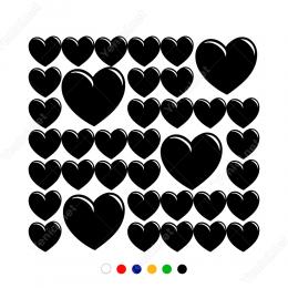 Sevgililer Günü Büyük Küçük Kalpler Stickerı 37 Adet