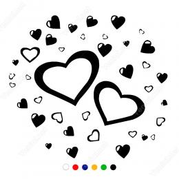 Sevgililer Günü Büyüklü Küçüklü Kalp 110x110cm Sticker Yapıştırma