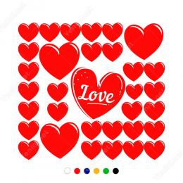 Sevgililer Günü Büyük (love) Küçük Kalpler 34 Adet Sticker