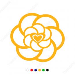 Sevgililer Günü Çiçek Desenli Kalp 110x110cm Sticker