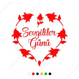 Sevgililer Günü Çiçekli Kalpli Sticker
