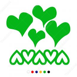 Sevgililer Günü Desenli Kalpler 110x110cm Sticker Yapıştırma