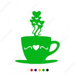 Sevgililer Günü Kahve Fincanı Kalp 110x110cm Sticker