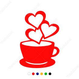 Sevgililer Günü Kahve Fincanı ve Üç Kalp 110x110cm Sticker