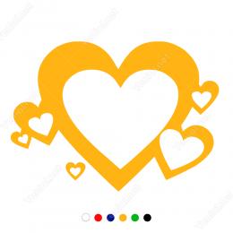 Sevgililer Günü Kalp İçinde Kalp 110x110cm Sticker Yapıştırma