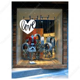 Sevgililer Günü Kalpli İçinde Love Yazısı 110x110cm Sticker