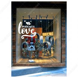 Sevgililer Günü Kalpli İçinde Made With Love 110x110cm Sticker Yapıştırma