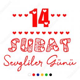 Sevgililer Günü Kalpli Yazı 110x110cm Sticker Yapıştırma