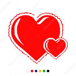 Sevgililer Günü İki Kalp Sticker Yapıştırma
