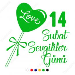 Sevgililer Günü Love Yazılı Kalp 110x110cm Sticker Yapıştırma