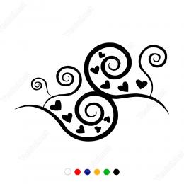 Sevgililer Günü Sipral Desen ve Kalp 110x110cm Sticker