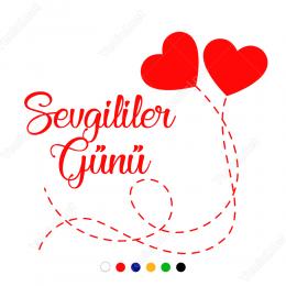 Sevgililer Günü Yazısı İpe Bağlı Kalpler Sticker
