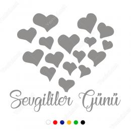 Sevgililer Günü Yazısı Kalpler 110x110cm Sticker Yapıştırma