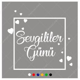 Sevgililer Günü Yazısı ve Kalpler Sticker Yapıştırma